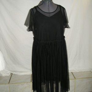TORRID SHEER BLACK MESH MIDI DRESS WITH SLIP
